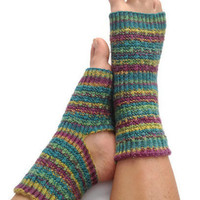 Yoga Pedicure Socks in Purple Blue and Green Stripes Hand Knit Toeless Pilates Dance