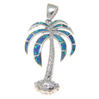 INLAY OPAL 3D LARGE 925 STERLING SILVER HAWAIIAN PALM TREE PENDANT