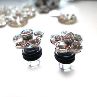 Silver Wedding Flower Glam rhinestone plugs for Gauged Ears - 1 Pair (2pcs) 6mm / 2g - Clear Plug