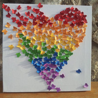 3D Butterfly Art / Butterfly Rainbow Heart / Nursery by RonandNoy
