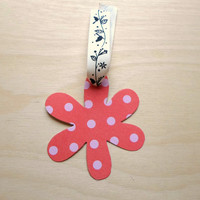 Flower Gift Tag for Him or Her Orange Pink Spotty