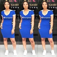 Champion Summer Fashion New Letter Print V-Neck Short Sleeve Dress Women Blue