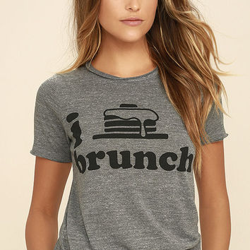 Chaser I Heart Brunch Heather Grey Tee