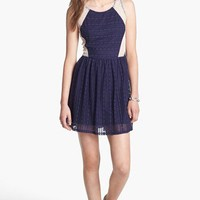 Robin K Lace Illusion Skater Dress (Juniors) | Nordstrom