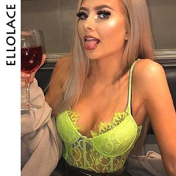 Ellolace Neon Lace Bodysuit Body for Women Mesh Transparent Jumpsuit Bodycon Backless Sexy Overalls Bodys Female 10color Rompers