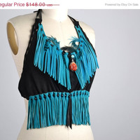 SUMMER SALE Turquoise Fringe Leather Top - Leather Festival Top - Festival Clothing - Native American Leather Top - Party Tops - Burning Man