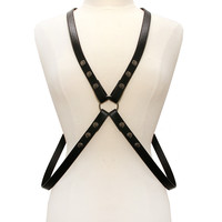 Black Leather Cross Body Harness