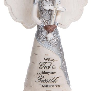 With God all things are Possible Matthew 19:26 Ebony Angel Figurine