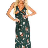Sexy Dark Green Floral Print Deep V Neck Cut Out Summer Maxi Dress