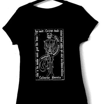 T-Shirt for woman with medieval illustration ADORATIO,black color,ecological white ink,goth,occult,skull,punk,medieval