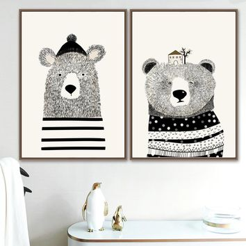 Bear Wall Art Canvas Painting Nordic Posters And Prints Scandinavian Animal Wall Pictures Baby Boy Girl Room Nursery Home Decor