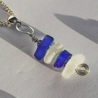Blue and White Sea Glass Stack Pendant