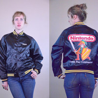 Vintage 80's Nintendo Legend Of Zelda Black Satin Game Coach Jacket RARE