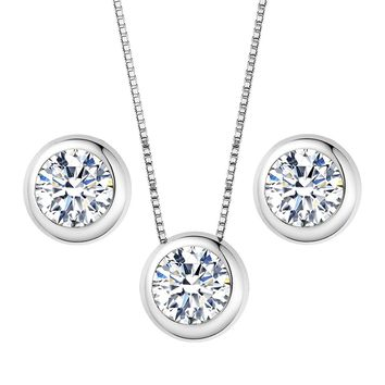 925 Sterling Silver 0.7 Carat Solitaire Round CZ Bridal Necklace Earrings Jewelry Set