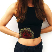 Mandala Sun Crop Top-Yoga Crop Top-Workout Crop Top-Sun-American Apparel