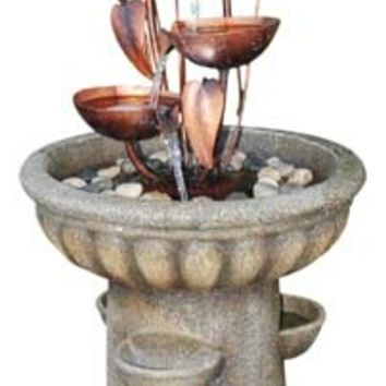 A.M.B. Furniture & Design :: Patio furniture :: Misc. Outdoor furniture :: Copper and bronze finish indoor / outdoor water fountain with cattail and copper cups fountain
