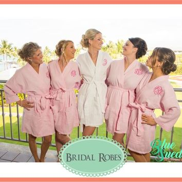Monogram Waffle Robes - set of 5 | Bridal Party Robes | Personalized Bridesmaid Robes | Waffle Weave Robe | Bridal Party Gift