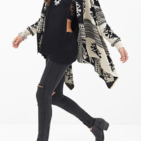 FOREVER 21 Southwestern-Inspired Cardigan Black/Cream