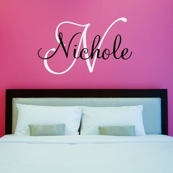 Initial & Name Wall Decal - Girls Name Decal - Initial Sticker - Girl Bedroom Decor - Large (5)