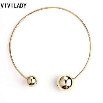 VIVILADY Fashion Double Faced Acrylic Ball Necklaces Women Femme Crystal Imitation Pearl Beads Costume Jewelry Bijoux Party Gift