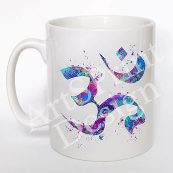Ohm Symbol 3 Mug Blue Ohm Cup Watercolor Art Zen Coffee Mug Ohm Symbol Yoga Tea Mug Birthday Gift Coffee Cup Ohm Symbol Tea Cup Gift