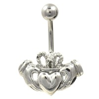 Shiny Steel Irish Claddagh Belly Button Ring