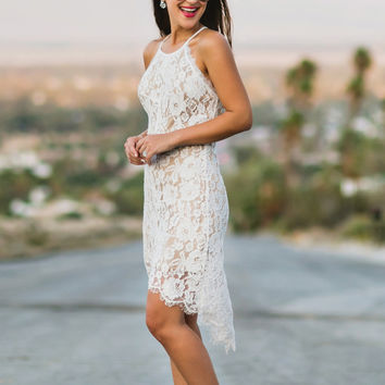 Olivia High-Low White Lace Dress