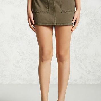 Zip-Back Denim Mini Skirt