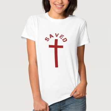 Christian Saved Red Cross and Text Design Tee Shirt