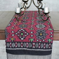 Ethnic Table Runner In Hand Woven Indonesian Ikat Deep Red And Black With Fringe Ends
