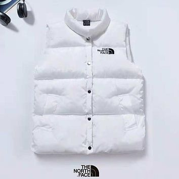 The North Face Autumn And Winter New Fashion Bust Letter Embroidery Vest Top Down Jacket Coat White