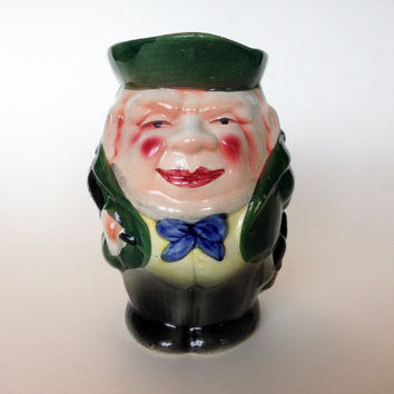 Old Toby Jug, Green, Blue, Rosy Cheeks, Rare