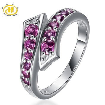 Hutang New Fashion Arrvial Natural Rhodolite Garnet Ring Solid 925 Sterling Silver Pass Ring Gemstone For Women Fine Jewelry