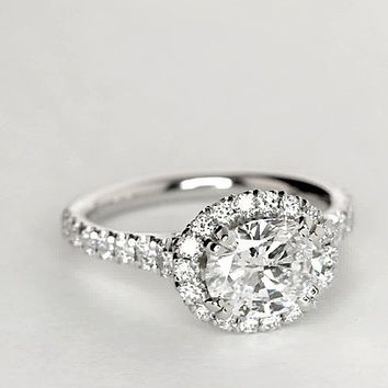A Perfect East West 2CT Oval Cut Halo Russian Lab Diamond Engagement Ring
