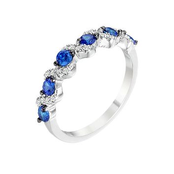 Everlasting Sapphire - Women's Rhodium Plated Sapphire Blue And Clear CZ Half Eternity Band