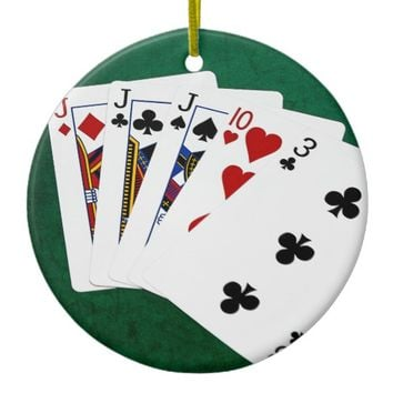 Poker Hands - Three Of A Kind - Jack Ceramic Ornament