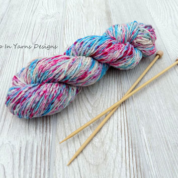 Pink and Turquoise Speckled, Hand Dyed, Splatter Dyed, Pima Cotton Aran Weight Yarn