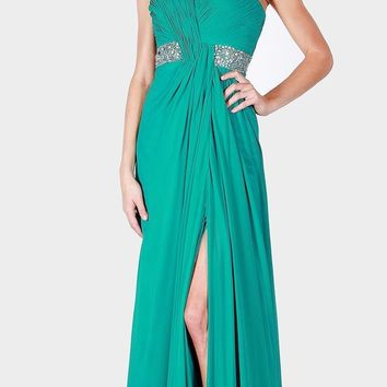 Ruched Bodice Jade Strapless Long Prom Gown