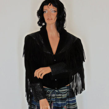 Fringed black leather jacket, size M / L, cropped, suede, genuine leather