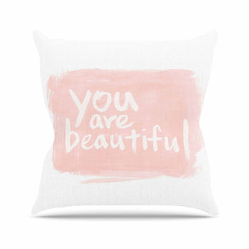 "Qing Ji ""Brush Lettering Beautiful"" Peach White Outdoor Throw Pillow"