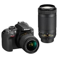 Nikon DSLR D3400 Camera 2-Lens Kit Black