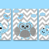 Elephant Nursery Owl Nursery Hippopotamus Nursery Baby Boy Nursery decor Children Art Print Baby Nursery Print set of 3 8x10 bird blue gray