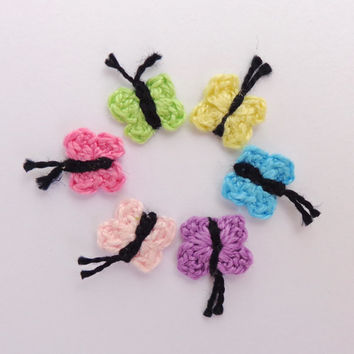 Tiny Crochet Butterfly 10pcs - From Cotton Yarn- Crochet Supplies For Clothing, Hair Clips, Handbags