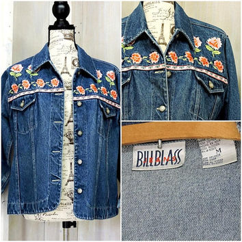 Bill Blass denim jacket / 90s jean jacket / floral embroidered / boho / hippie / size M