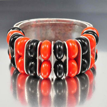 Vintage Bakelite Bracelet Art Deco Bangle Chrome Silv