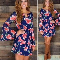 Women's Long Sleeve O-Neck Chiffon Floral Casual Dress Size Small