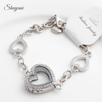 10PCS/LOT New  Heart Floating Locket Charm Bracelet & Bangles Rhinestone Glass Living Memory Locket Pendant Bracelets Women Gold