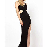 Sexy Black Cutout Maxi Dress = 4775970372