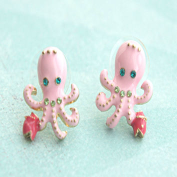 Pink Octopus Stud Earrings