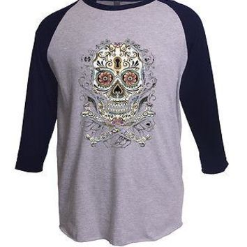 Floral Sugar Skull Day Of The Dead Angelitos Long Sleeve Baseball T-Shirt S-3XL